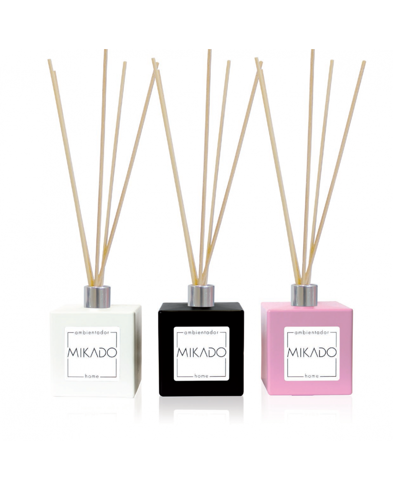 Mikado ambientador completo 100 ml con frasco cerámico blanco, negro o rosa de 100 ml y 5 varillas fragancia Talco