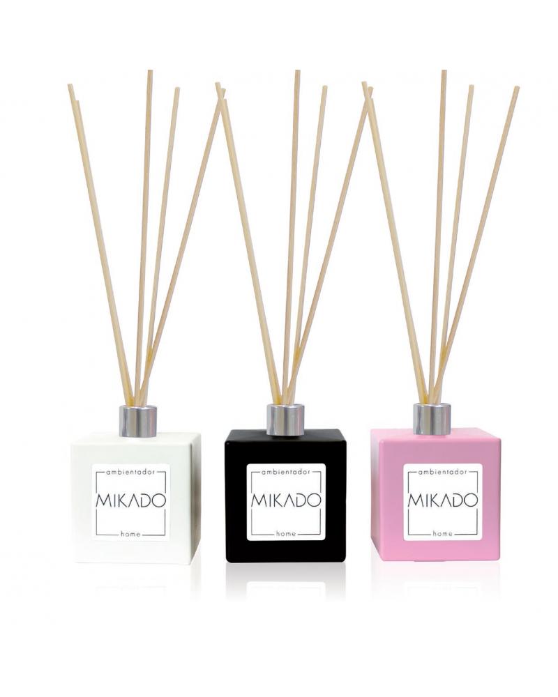 Mikado ambientador completo 100 ml con frasco cerámico blanco, negro o rosa de 100 ml y 5 varillas fragancia azahar