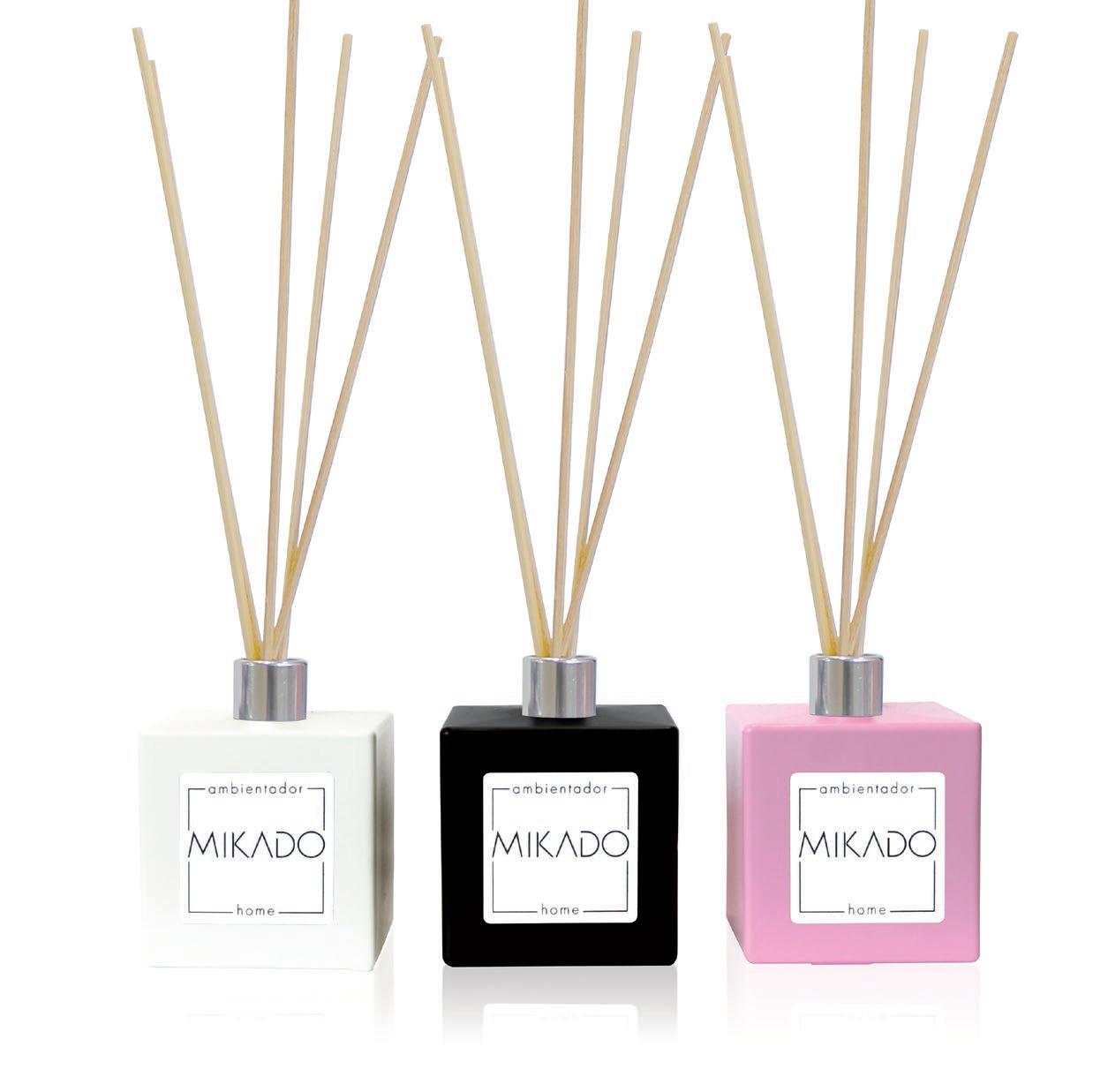 Mikado ambientador completo 100 ml con frasco cerámico blanco, negro o rosa de 100 ml y 5 varillas fragancia chicle