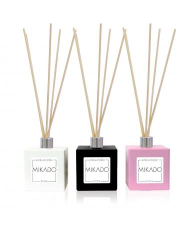Mikado ambientador completo 100 ml con frasco cerámico blanco, negro o rosa de 100 ml y 5 varillas fragancia frutos rojos